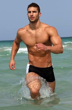 male body, guy, body fitness, at the beach, adam ayash, keep running, beach time, men, male models