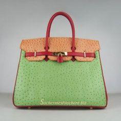 Sacs Hermès Pas Cher Birkin 35cm Ostrich Veins Sac Rouge/Orange/Vert 6089