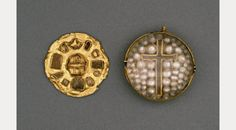 The Ninian Reliquary - golden capsule containing a piece of the True Cross in a field of pearls