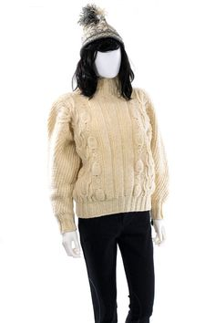 Cable Knit Sweater Vintage Ivory Cream by FiregypsyVintage on Etsy