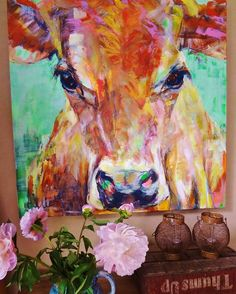 Cow painting, impression in interior @liesbethserlie #cow #cows #painting…