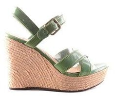 UGG Women's Green Leather Wedges.