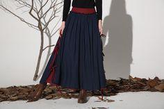 Dark blue linen skirt maxi skirt women skirt 1159 by xiaolizi