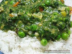 Spinach Palak Vegetable curry with Rice - Easy Indian Recipes
