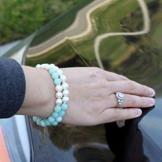 Freshwater pearl, amazonite and sterling silver bracelet set ❣️