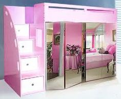 Custom loft bed w/ built in wardrobe, mirror bi-fold doors, & drawer stairs. A bit too compact but good for a little girl's room in a small place Girl Bedroom Designs, Girls Bedroom, Bedroom Decor, Bedroom Ideas, Bed Ideas, My New Room, My Room, Girl Room, Bunk Beds With Stairs