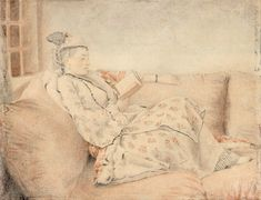 Lady in Turkish dress reading circa 1740. J. E Liotard