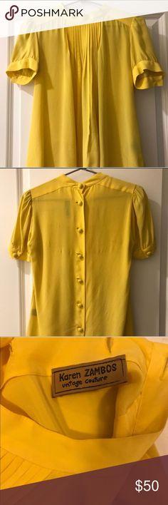 Karen Zambia vintage yellow silk blouse Karen Zambia vintage yellow silk blouse. Buttons up the back. Simply elegant. Karen Zambos Tops Blouses