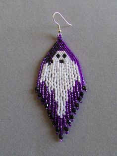 Ghost Earrings in delica beads for by DsBeadedCrochetedEtc on Etsy