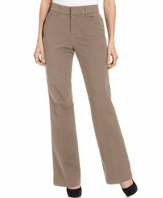 JM Collection Petite Twill Straight-Leg Trousers