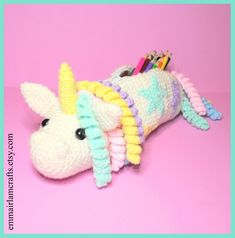 This item is unavailable Felt Doll Patterns, Felt Animal Patterns, Stuffed Animal Patterns, Crochet Ideas, Crochet For Kids, Free Crochet, Crochet Pencil Case, Unicorn Pencil Case, Crochet Dolls