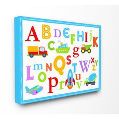 Stupell Rainbow Alphabet Transportation Icons Multicolored Stretched Canvas Wall Art