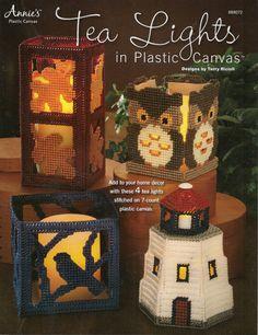 Tea Lights in Plastic Canvas on Etsy, $6.99