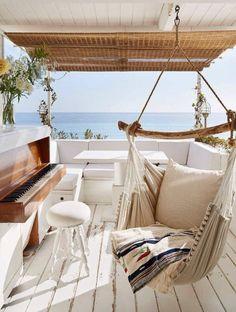 very unique seaside outdoor living area