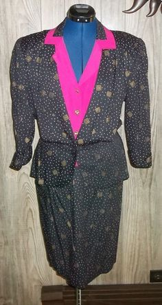 Vintage 80s Positive Influence Peplum Skirt Suit 11 12 Black Pink Gold    #PositiveInfluence