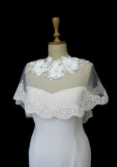 Ivory Lace Bridal Cape Shawl Lace Shrug Wedding Wrap by gebridal, $85.00