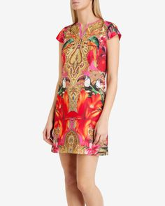 Paisley toucan tunic dress - Bright Pink | Dresses | Ted Baker