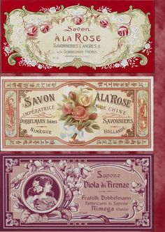 French soap labels with roses Images Vintage, Vintage Tags, Vintage Diy, Vintage Labels, Vintage Ephemera, Vintage Pictures, Vintage Paper, Vintage Postcards, Vintage Prints