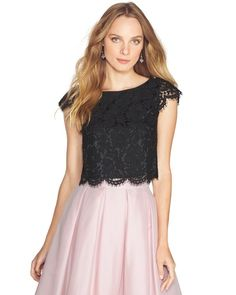 White House | Black Market Scalloped Lace Crop Bodice #whbm