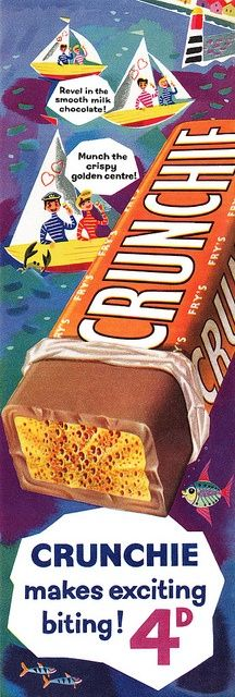 Revel in the smooth milk chocolate, munch on the crispy golden centre...yes please! chocolate bar vintage ad 1950s