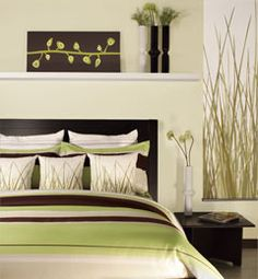 """I kind of like this better than the """"in your face"""" lime green we currently have. The balance of green, brown, and neutrals keeps the room feeling light and tranquil."""