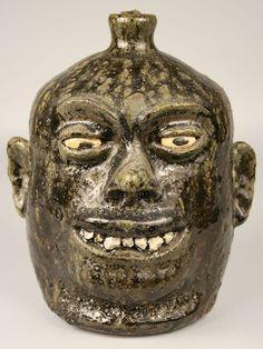 Lanier Meaders folk art face jug, rock teeth