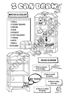 I can draw series - toys - ESL worksheet by gabitza Vocabulary Worksheets, Toy Soldiers, Just Giving, Esl, 9 And 10, Homework, I Can, Draw, Teaching