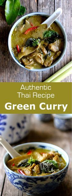 curry (kaeng khiao wan) is a pungent and very aromatic Thai curry perfectly combining spicy, salty, sweet and umami flavors. Green curry (kaeng khiao wan) is a pungent and very aromatic Thai curry perfectly combining spicy, salty, sweet and umami flavors. Authentic Thai Green Curry, Thai Green Chicken Curry, Thai Green Curry Recipes, Authentic Thai Food, Healthy Thai Recipes, Asian Recipes, Oriental Recipes, Curry Dishes, Zucchini