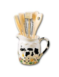 Cow pitcher utensil holder