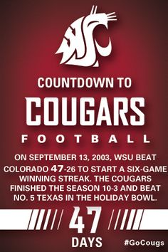 Countdown to Cougars Football - 47 Days #GoCougs.  The Holiday Bowl was SO MUCH FUN.