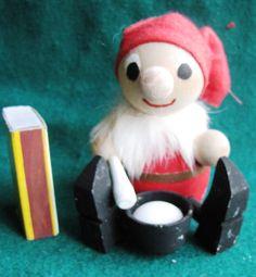 Vintage Wood Christmas Doll Elf Gnome Santa Tomte Sweden Figurine cook