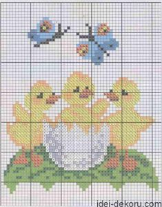 02f4890fbbb4769c1668735f6d3e7cb7 Chicken Cross Stitch, Cute Cross Stitch, Cross Stitch Rose, Cross Stitch Animals, Cross Stitch Kits, Cross Stitch Designs, Christmas Embroidery Patterns, Embroidery Stitches, Easter Cross