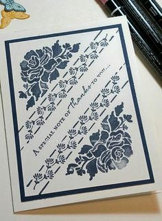 DH Navy floral monochromatic by - Cards and Paper Crafts at Splitcoaststampers (Favorite Pins Night) Hand Made Greeting Cards, Making Greeting Cards, Greeting Cards Handmade, Stampin Up Anleitung, Scrapbooking, Stampin Up Catalog, Stamping Up Cards, Get Well Cards, Paper Cards