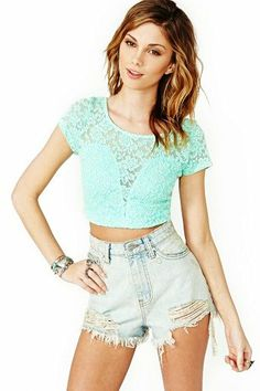 mint crop top high waisted shorts