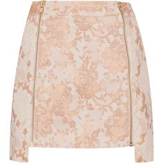 TOPSHOP Lace Zip Step Hem Pelmet Skirt (110 BRL) ❤ liked on Polyvore featuring skirts, bottoms, saias, topshop, peach, brown lace skirt, topshop skirts, lace skirt, zip skirt and lacy skirt