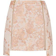 TOPSHOP Lace Zip Step Hem Pelmet Skirt ($35) ❤ liked on Polyvore featuring skirts, bottoms, saias, faldas, peach, zip skirt, brown lace skirt, topshop skirts, peach skirt and zipper skirt