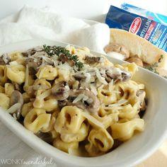 Mushroom Cream Sauce Recipe with Tortellini - WonkyWonderful