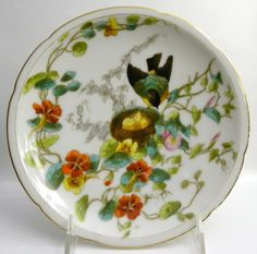 Limoges Plate  Bird Nest Flowers by AuntMartha on Etsy, $22.00