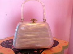 MOD 50s white pearl lucite mini purse handbag clutch bridal cocktail evening statement 60s