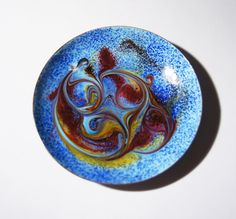 Enamel Dish Modernist Abstract Blue Red Swirls by LuckyPatina, $18.00
