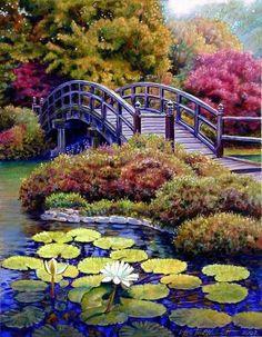 Bridge Painting by John Lautermilch - Japanese Bridge Fine Art . Beautiful Paintings, Beautiful Landscapes, Beautiful Gardens, Landscape Art, Landscape Paintings, Watercolor Paintings, Bridge Painting, Pond Painting, Fine Art