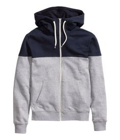 Gray hoodie with contrasting blue yoke, lined drawstring hood, and side pockets.│ H&M Divided Guys [For Adrian] Mens Sweatshirts, Hoodies, Winter Typ, Outdoor Wear, Nike Kids, Sweat Shirt, Look Cool, Hoodie Jacket, Pulls