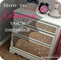 "This dresser was dressed up using ""mirror vinyl""!"