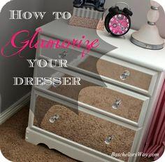 "This dresser was dressed up using ""mirror vinyl""!"