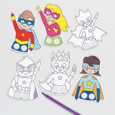Colour-in finger puppets for super hero fans! Perfect for kids parties, make and take sessions or crafts at home. Crafts For Seniors, Fun Crafts For Kids, Arts And Crafts, Super Hero Day, Heros Comics, Finger Puppet Patterns, Superhero Kids, Camping Crafts, Supergirl