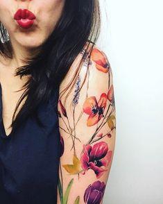 Flowers tattoo by Robi Pena #boulderinn #FlowerTattooDesigns