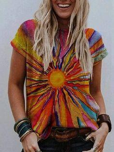 Casual T Shirts, Casual Tops, Streetwear, Tie Dye Long Sleeve, Print Shift, Tie Dye Shorts, Basic Tops, Fashion Prints, Style Fashion