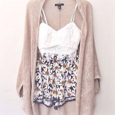 Pretty outfit. White lace top, floral shorts and a beige cardigan.