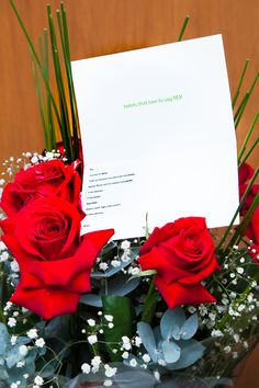 Flowers and card by the groom!