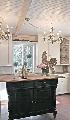 love this french country kitchen, esp the bead board ceilings!!!! must do this!